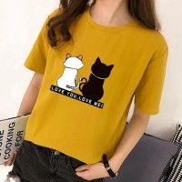 Cat Prints Round Neck Casual T-Shirt - Yellow