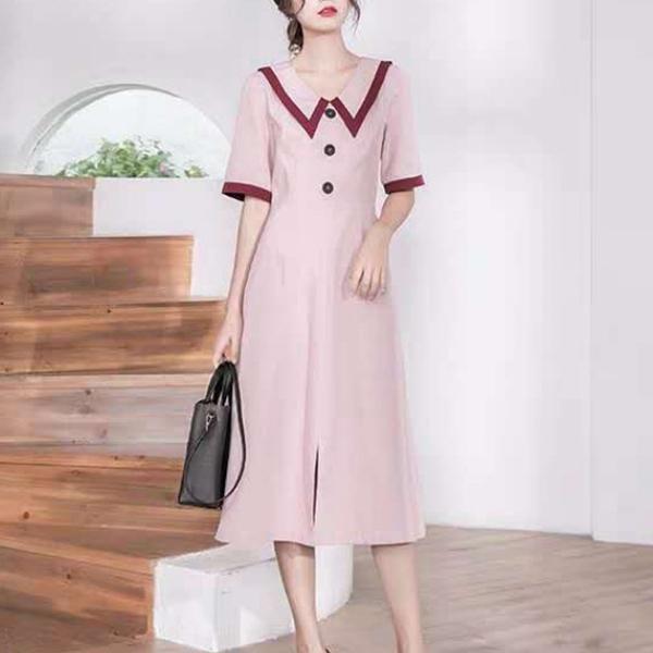 French Style Retro Midi Length Dress - Pink