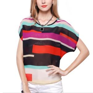 Rainbow Colored Stripes Bat Short Sleeve Irregular Shirt Women