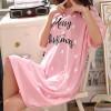 Merry Christmas Printed Short Sleeves Nightwear Dress - Pink