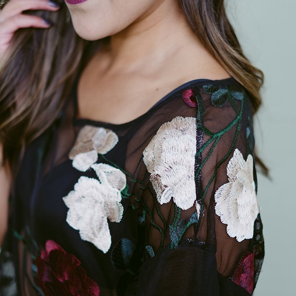Embroidered Short Sleeves Black Lace Top