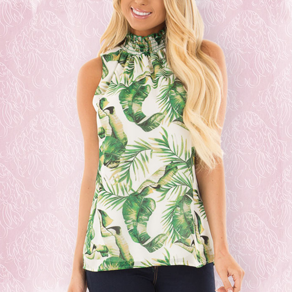 Halter Neck Colorful Printed Top