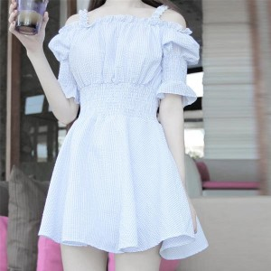 Strapless Mini Suspender Summer Beach Skirts - Light Blue