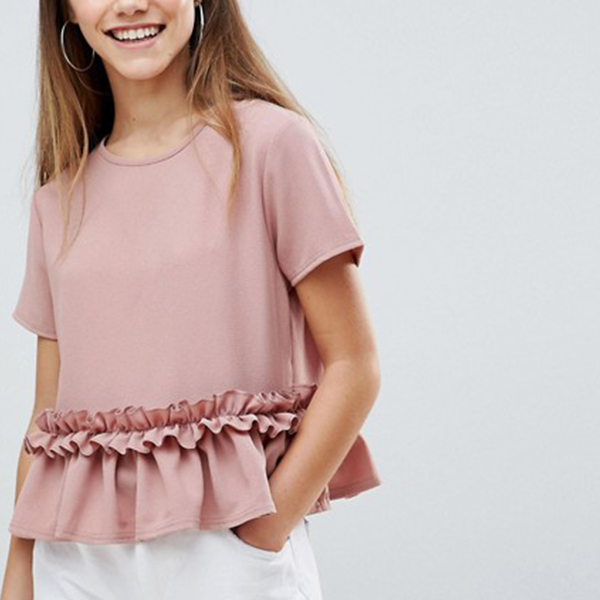 Round Neck Frilled Decorated Top
