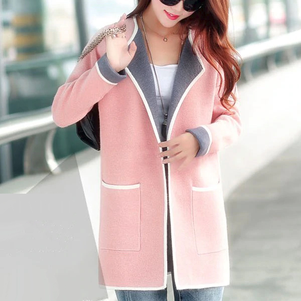Pleated Two Pocket Winter Style Formal Coat - Pink
