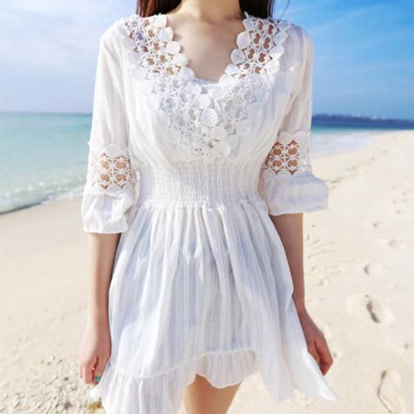 Waist Elastic Lace V Neck Flared Beach Dress