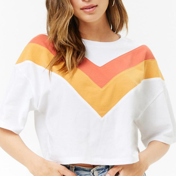 O Neck Orange Striped Mini T-Shirt