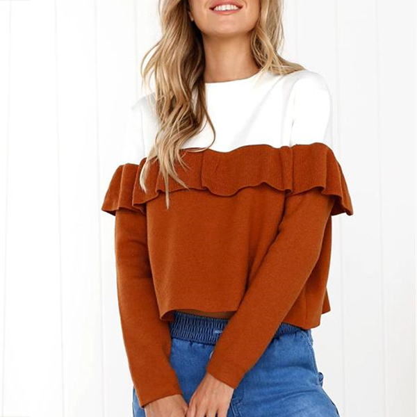 Ruffled Front Duo Contrast Full Sleeves T-Shirt