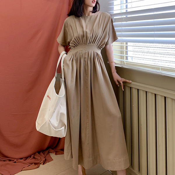 Solid Color Short Sleeves Midi Summer Dress - Khaki