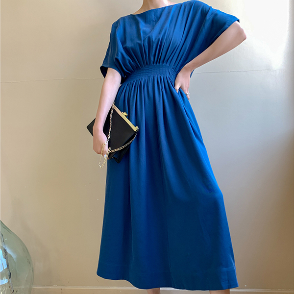 Solid Color Short Sleeves Midi Summer Dress - Blue