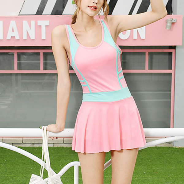 Contrast Solid Color Mini Length Swimsuit - Pink