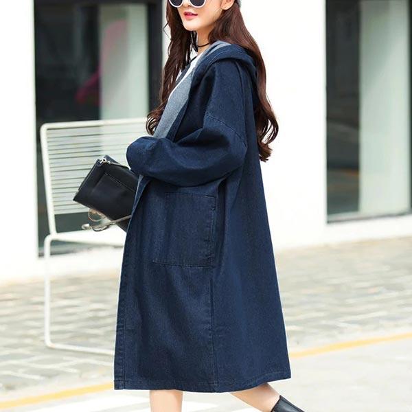 Denim Loose Hooded Coat Women Long Coats - Dark Blue