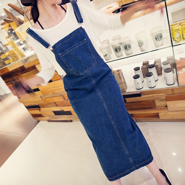 Baggy Fashion Knotted Strap Casual Bib Skirt - Blue