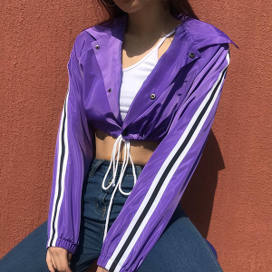 String Waist Striped Shiny Mini Jacket