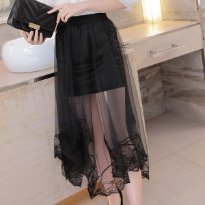 Asymmetric Thin Irregular Fabric Skirt - Black