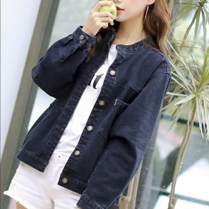 Loose Long Sleeve Button Closure Jeans Jackets - Black