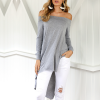 Irregular Off Shoulder Full Sleeves Top - Gray