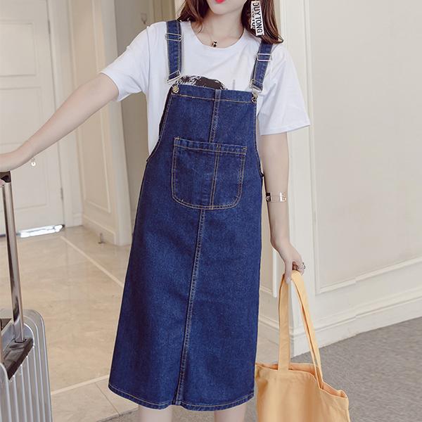 Big Pocket Solid Pattern Denim Skirts - Blue