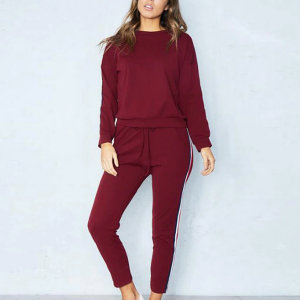 Two Pieces Casual Sports Dress - Burgundy
