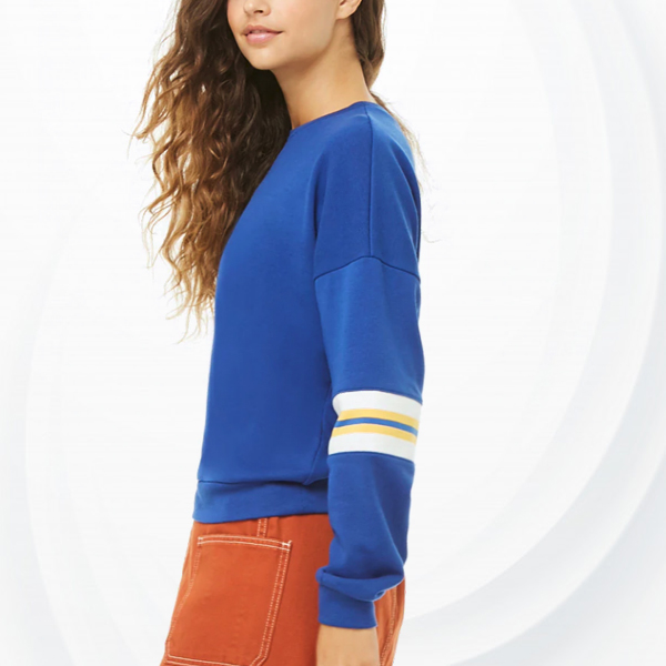 Round Neck Loose Full Sleeves T-Shirt - Blue