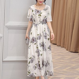 Flower Printed Chiffon Summer Special Dress - Grey