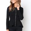 Frilled Hem Full Sleeves Zipper Top - Black