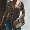 Bat Sleeves Leopard Prints Waist Band Shirt