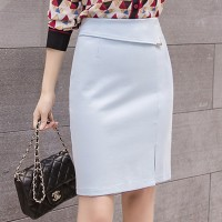 Slash Button Up Split Hem Mini Skirt - Sky Blue