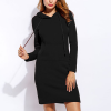 Casual Sports Special Winter Hoodie Mini Dress - Black