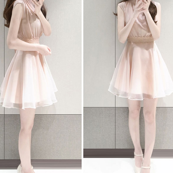 Chiffon Lace Belt Frilled Neck Mini Dress