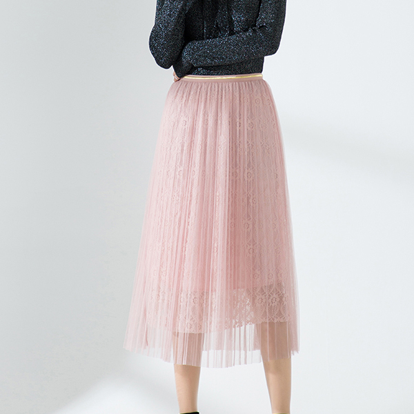 Elastic Waist Lace Pleated Textured Skirt - Pink