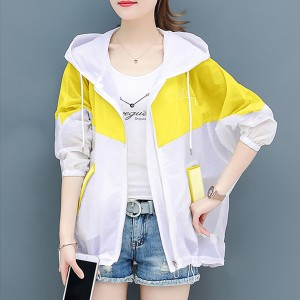Zipper Thin Fabric Summer Wear Jacket - Yellow