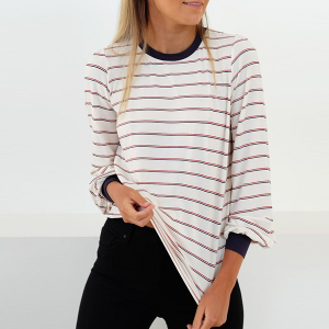 Loose Casual Winter Lining T-Shirt - White