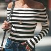 Striped Off Shoulder Full Sleeves Top