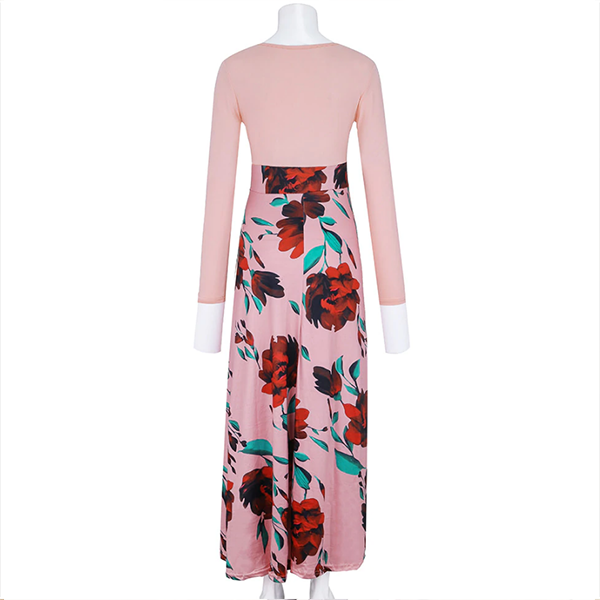Rose Printed Full Sleeves A-Line Party Dress - Pink
