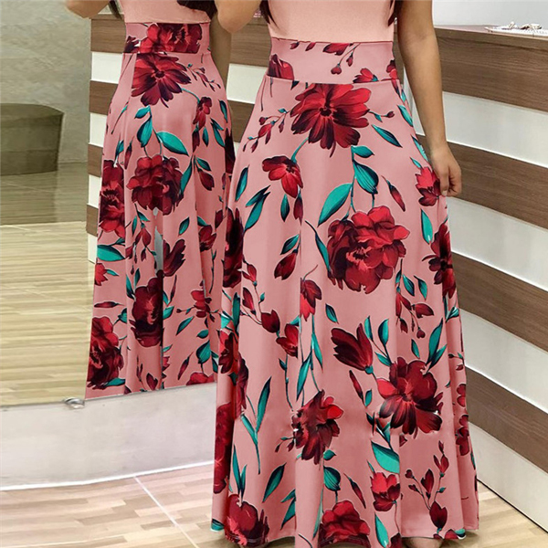 Digital Prints Rose Full Sleeves Maxi Dress - Pink