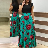 Digital Prints Rose Short Sleeves Maxi Dress - Black
