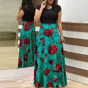 Digital Prints Rose Short Sleeves Maxi Dress - Black