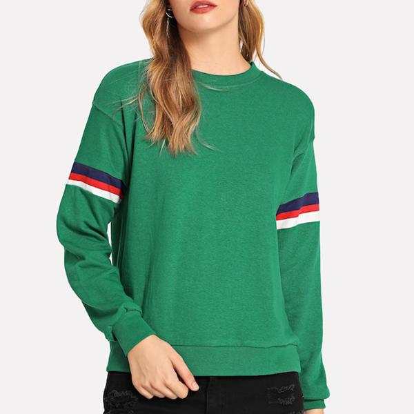 O Neck Full Sleeves Green Formal T-Shirt