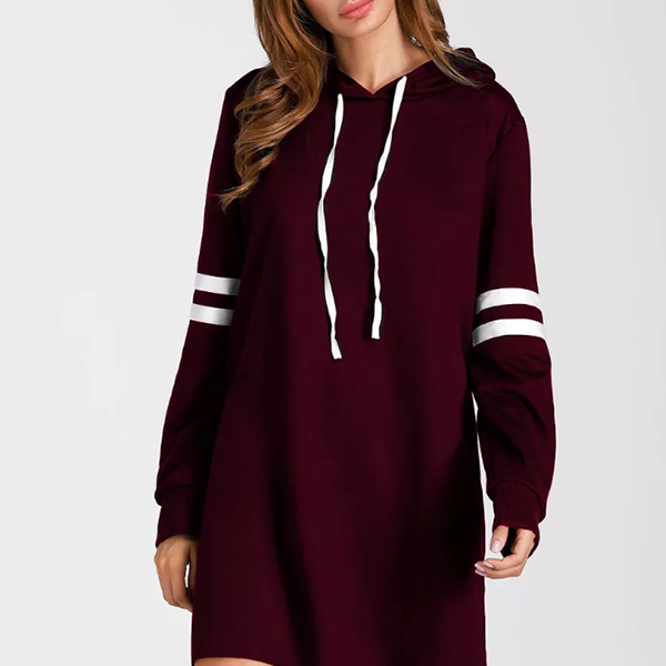 String Neck Winter Wear Long Sleeves Hoodie - Burgundy