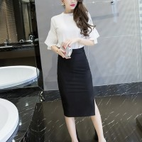 Body Con Solid Texture Business Casual Long Skirts - Black