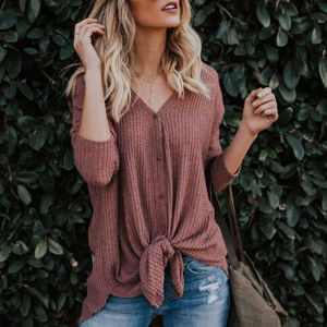 Button Up Ribbed V Neck Full Sleeves T-Shirt - Brown