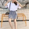 Check Prints Skirt With Round Neck T-Shirt - White