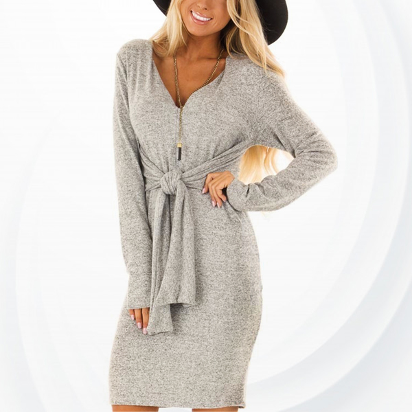 Mesh Texture Waist Knotted Mini Dress - Grey