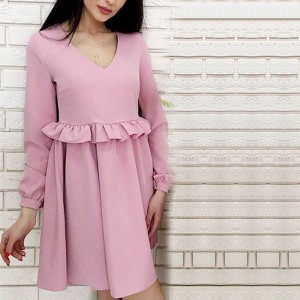 Flared Waist V Neck Short Dress - Pink