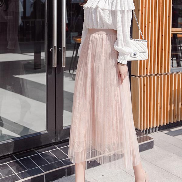 Waist Elastic Transparent Floral Chiffon Skirt - Pink