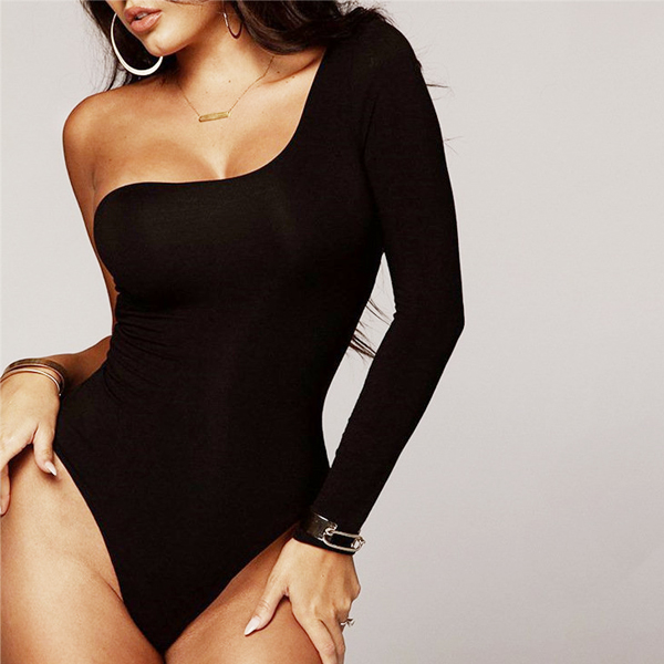 One Shoulder Sexy Wear Jumpsuit - Black
