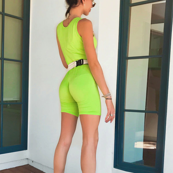 Body Fitted Sports Wear Jumpsuit - Green