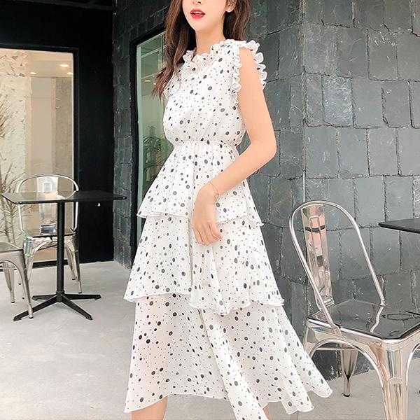 Polka Dots Frilled O Neck Sleeveless Midi Dress - White