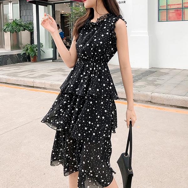 Polka Dots Frilled O Neck Sleeveless Midi Dress - Black